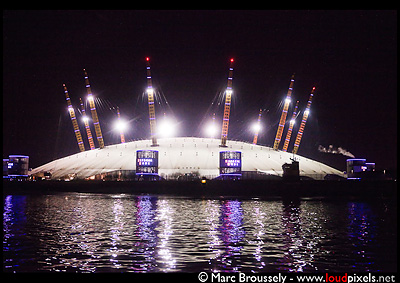 Depeche Mode at the O2, from a Thames Clipper