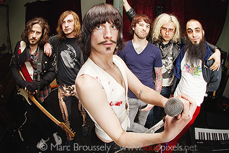 Foxy Shazam posing in Kentish Town, London, 20 February 2010
